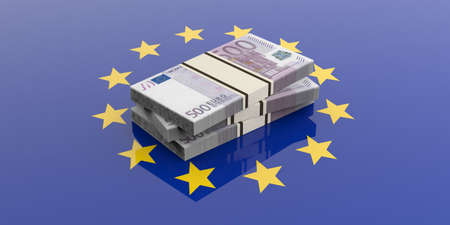 batch of euro: 3d rendering 500 euro banknotes stacks on a European Union flag