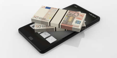 batch of euro: 3d rendering 50 euro banknotes stacks on a smartphone, white background Stock Photo