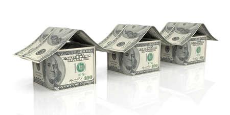 3d rendering 100 dollar houses on white background