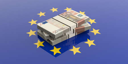 batch of euro: 3d rendering 50 euro banknotes stacks on a European Union flag