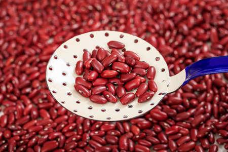 legumbres secas: Fondo sin procesar de las habas de riñón y una cuchara metálica