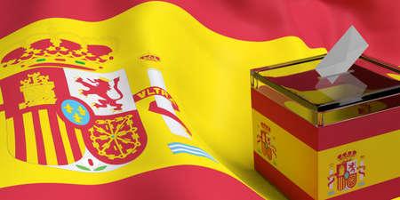 urn: 3d rendering glass ballot box on Spain flag background