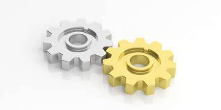 3d rendering silver and gold gears on white background