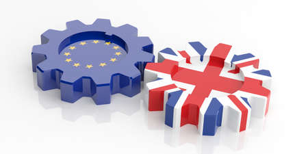 la union hace la fuerza: 3d rendering EU and UK  flags gears on white background