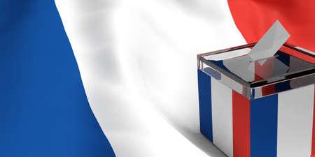 フランスの旗の背景に 3 d レンダリング ガラス投票箱 写真素材