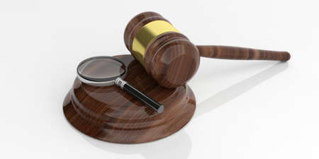 auction gavel: 3d rendering magnifier glass on an auction gavel Stock Photo