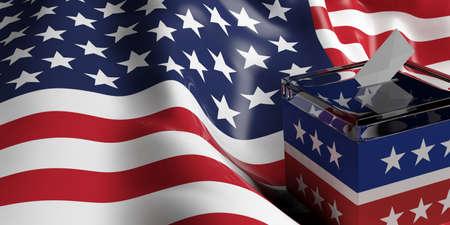 米国旗の背景に 3 d レンダリング ガラス投票箱 写真素材