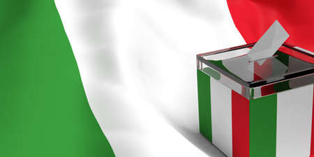 3d rendering glass ballot box on Italy flag background Stock Photo