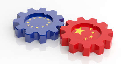 la union hace la fuerza: 3d rendering EU and China flags gears on white background Foto de archivo