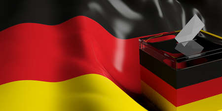 3d rendering glass ballot box on Germany flag background