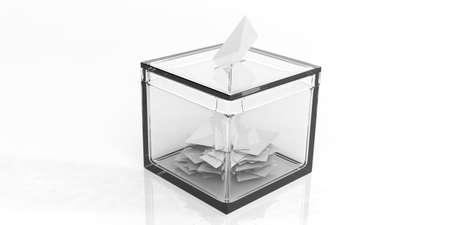 3d rendering glass ballot box on white background