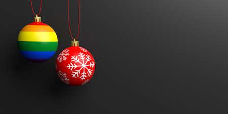 lesbianas: Representación 3D bola de Navidad y la bandera gay balón