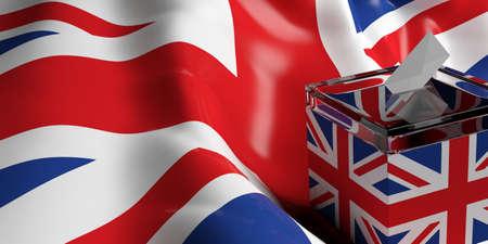 3d rendering glass ballot box on UK flag background