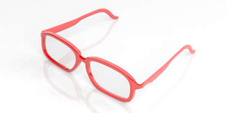 shortsighted: 3d rendering pair of red glasses on white background
