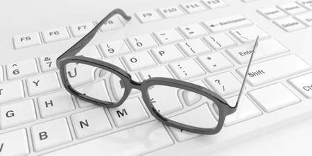 shortsighted: 3d rendering pair of eye glasses on a white keyboard