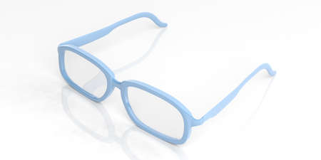 shortsighted: 3d rendering pair of blue glasses on white background Stock Photo
