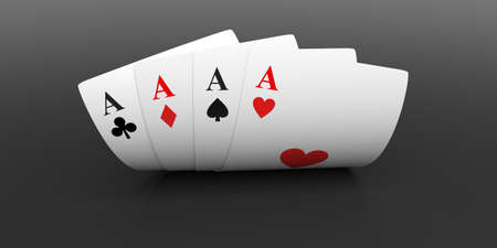 3d rendering aces cards on black background