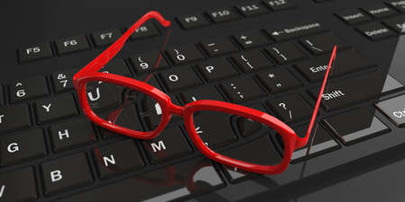 eye 3d: 3d rendering pair of red eye glasses on a keyboard