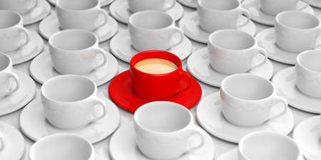 red cup: 3d rendering red cup with coffee among white empty cups Stock Photo