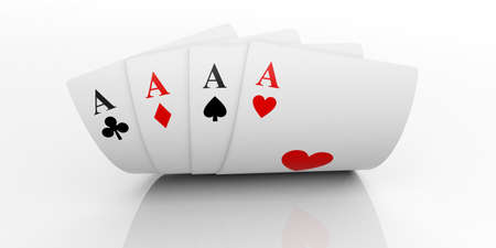 3d rendering aces cards on white background