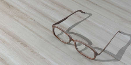 shortsighted: 3d rendering pair of wooden glasses on a wooden background