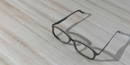 shortsighted: 3d rendering pair of glasses on a wooden background