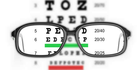 3d rendering pair of eye glasses and eyesight test Stock Photo - 62054818
