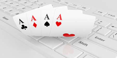 3d rendering aces cards on a keyboard