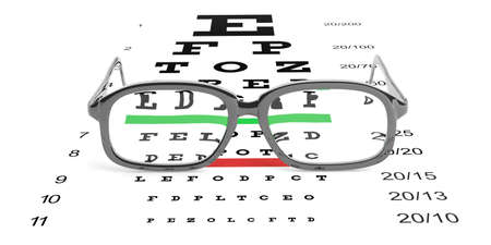 nearsighted: 3d rendering pair of eye glasses and eyesight test