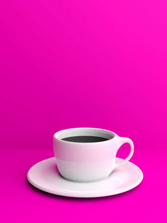 3d rendering cup of coffee on purple background
