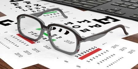 shortsighted: 3d rendering pair of eye glasses and eyesight test