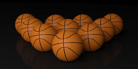 basketballs: 3d rendering orange basketballs on black background Stock Photo