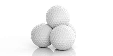 3d rendering golf balls on white background Stock Photo