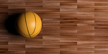 3d rendering basketball on wooden floor background Stock Photo