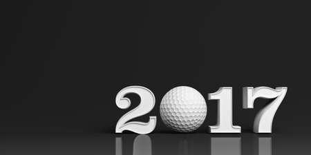 3d rendering golf ball 2017 on white background