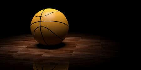 wooden floor: 3d rendering basketball on wooden floor background Stock Photo