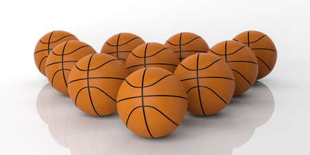 basketballs: 3d rendering orange basketballs on white background Stock Photo