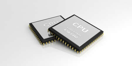 processors: 3d rendering cpu processors on white background Stock Photo