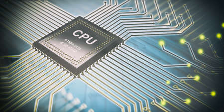 3d rendering electronic circuit cpu processor on blue background Stock Photo