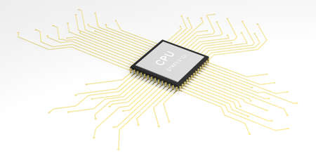 processor: 3d rendering electronic circuit cpu processor on white background Stock Photo
