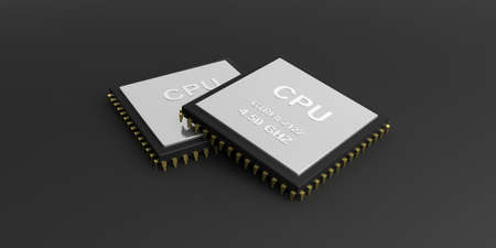 processors: 3d rendering cpu processors on black background Stock Photo
