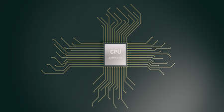 3d rendering electronic circuit cpu processor on black background