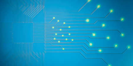 electronic background: 3d rendering electronic circuit cpu processor on blue background Stock Photo