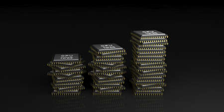 processors: 3d rendering cpu processors stack on black background