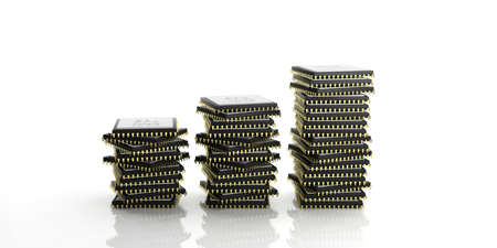 processors: 3d rendering cpu processors stack on white background