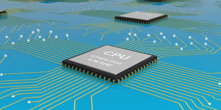 processor: 3d rendering electronic circuit cpu processor on blue background Stock Photo