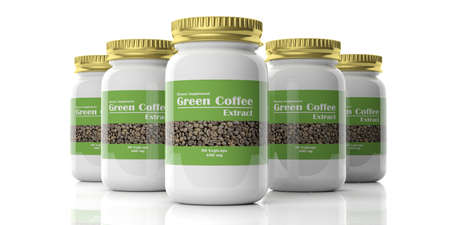 extract: 3d rendering bottle with green coffee extract