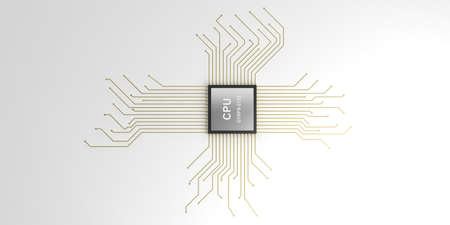 electronic background: 3d rendering electronic circuit cpu processor on white background Stock Photo