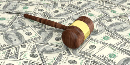 auction gavel: 3d rendering auction gavel on100 dollars banknotes background