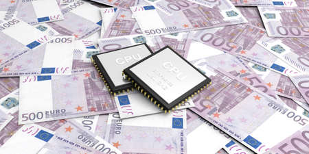 electronic background: 3d rendering electronic circuit on 500 euros banknotes background